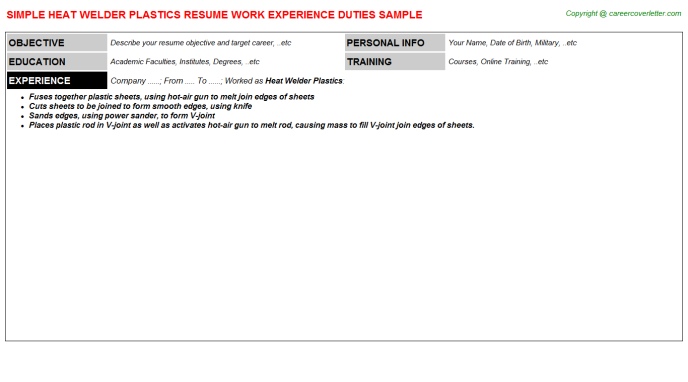 heat welder plastics resume template