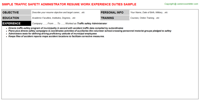 traffic safety administrator resume template