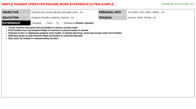 Whizzer Operator Resume Template