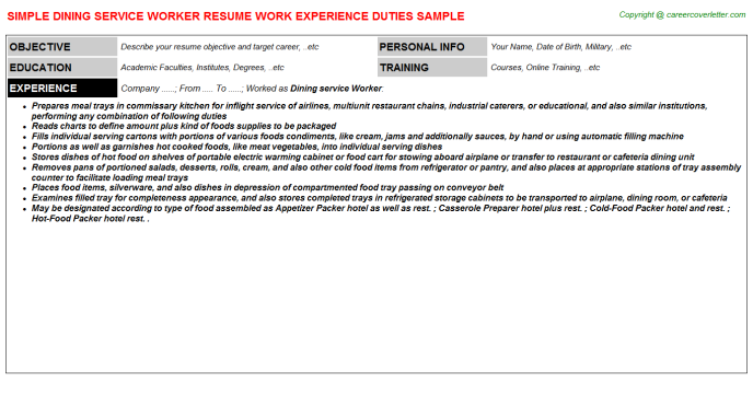 Dining Service Worker Resume Template