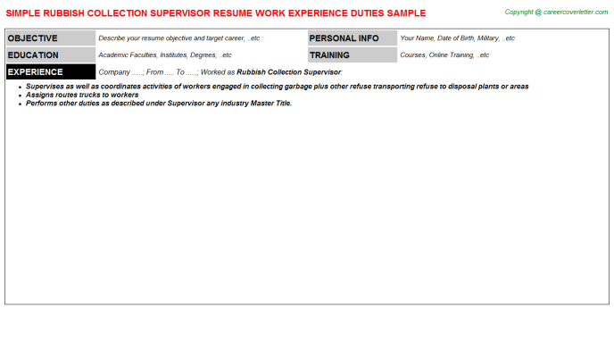 Rubbish Collection Supervisor Resume Template