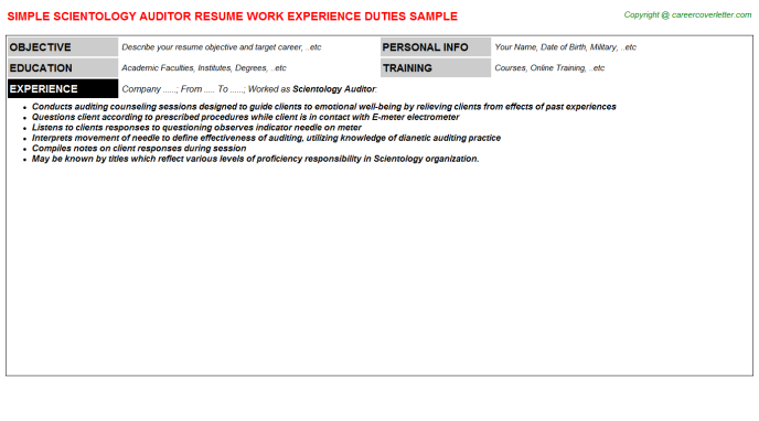 scientology auditor resume template