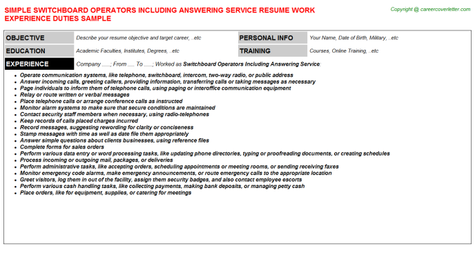 Switchboard Operators Including Answering Service Job Resume