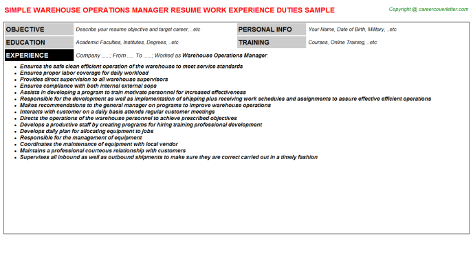 warehouse operations manager job resume sample