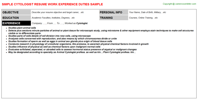 Cytologist Resume Sample Template
