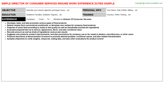 director of consumer services resume template