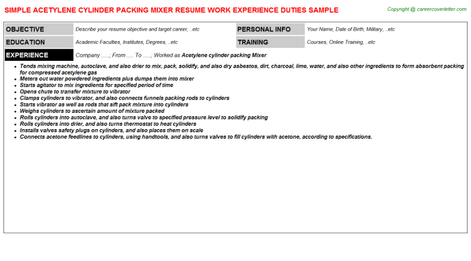 Acetylene Cylinder Packing Mixer Resume Sample Template