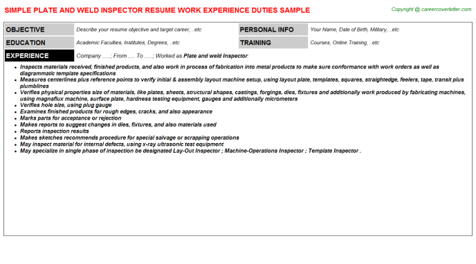 Plate And Weld Inspector Resume Template