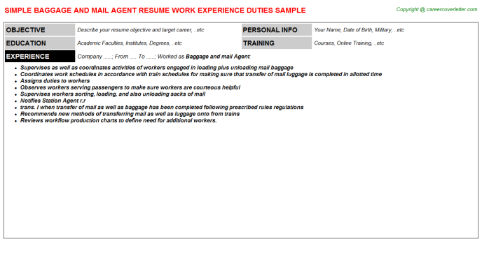 Repossession Agent Job Resumes Examples