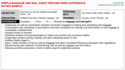 Baggage and mail Agent Job Resume Template