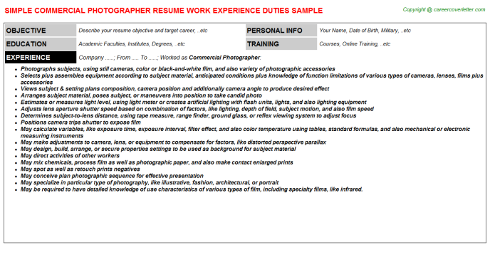 commercial photographer resume template