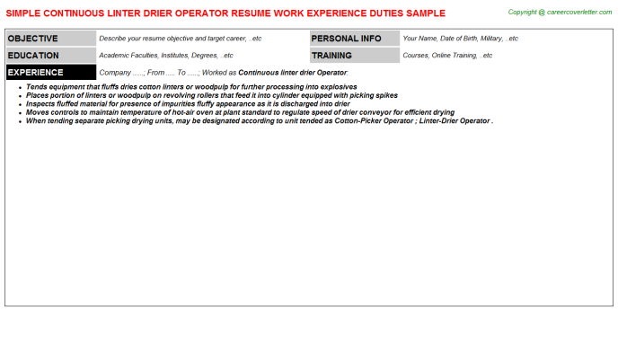 continuous linter drier operator resume template