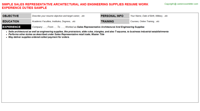 sales representative architectural and engineering supplies resume template