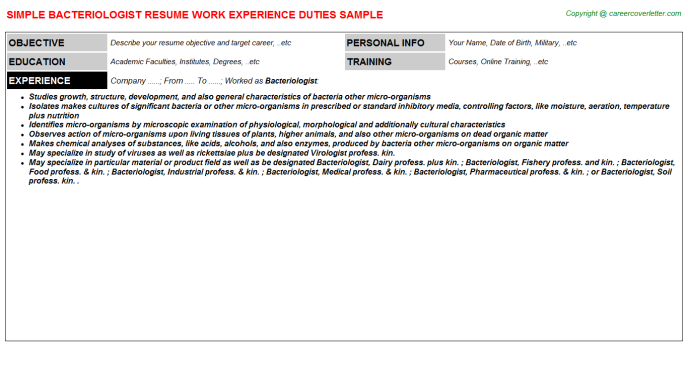 Bacteriologist Resume Sample Template