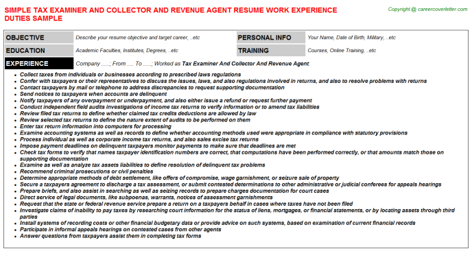 tax examiner and collector and revenue agent job resume sample