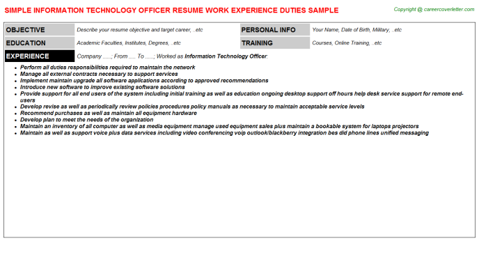 Information Technology Officer Resume Template