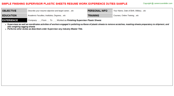finishing supervisor plastic sheets resume template