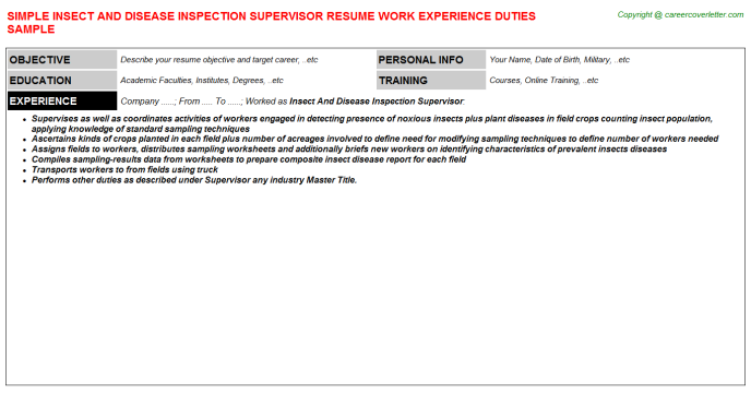 insect and disease inspection supervisor resume template