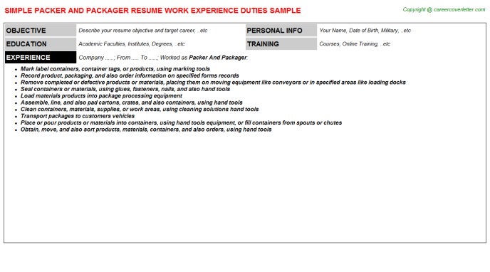 Packer And Packager Job Resume Template