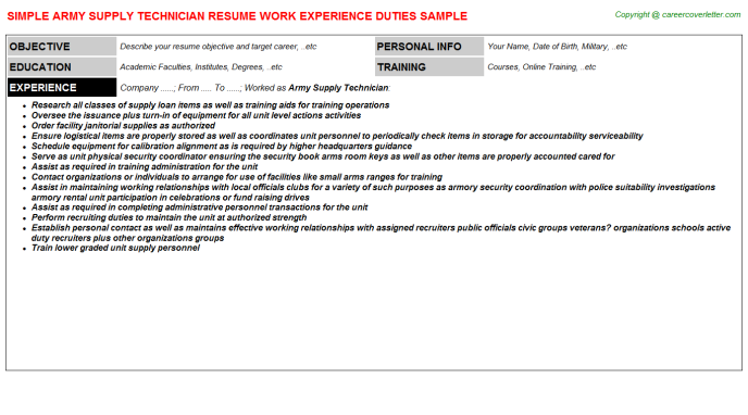 Army Supply Technician CV Resume