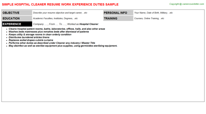 Hospital Cleaner Resume Sample
