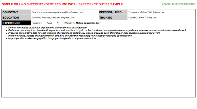 Milling Superintendent Resume Template