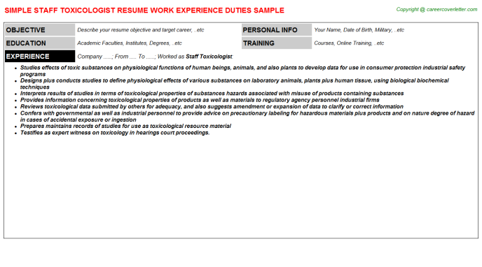 staff toxicologist resume template