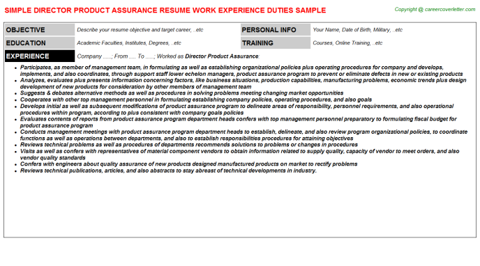 Director Product Assurance Resume Template