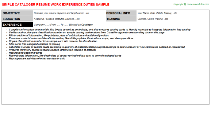 Cataloger Job Resume Template