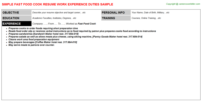 fast food cook job resume sample