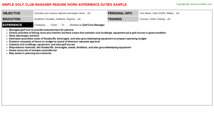 Golf Club Manager Job Resume Template
