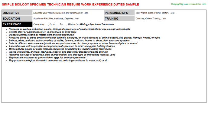 Molecular Biology Resume Samples