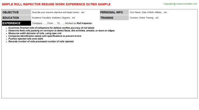 roll inspector resume template