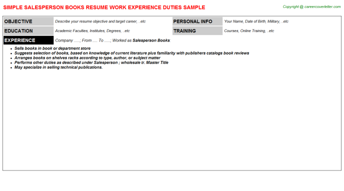 Salesperson Books Resume Template