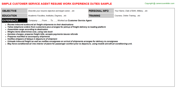 Customer Service Agent Resume Sample Template
