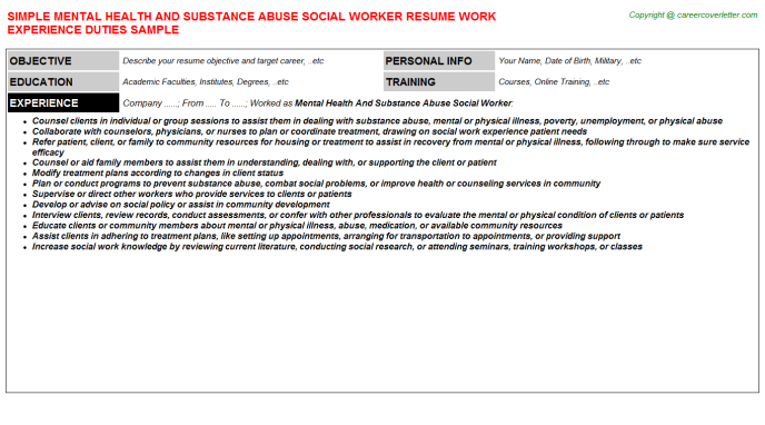 mental health and substance abuse social worker job resume