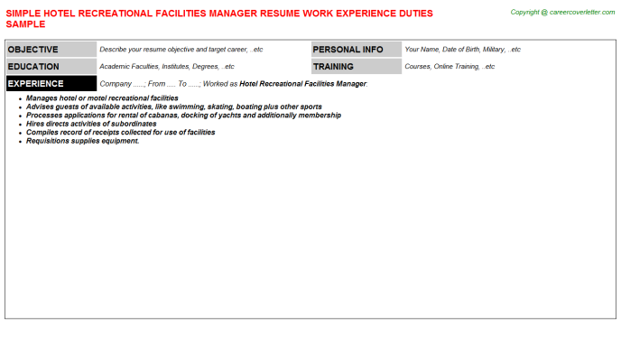 Hotel Recreational Facilities Manager Job Resume Sample