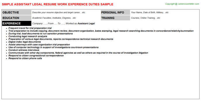 Assistant Legal Resume Template