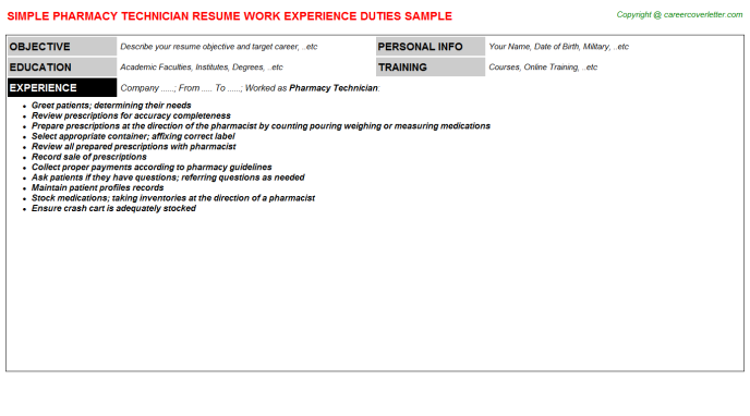 Pharmacy Technician Job Resume Template