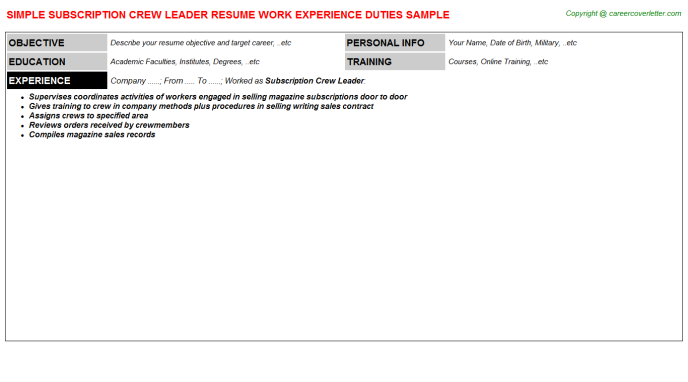 subscription crew leader resume template