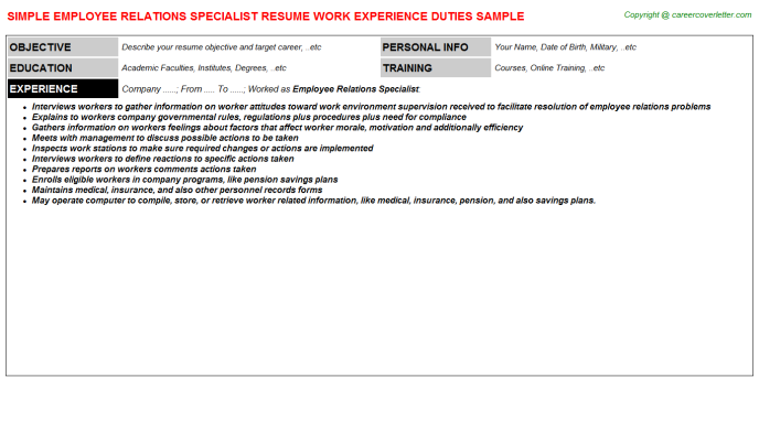 Employee Relations Specialist Resume Sample