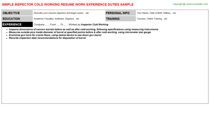 Inspector Cold Working Job Resume Template
