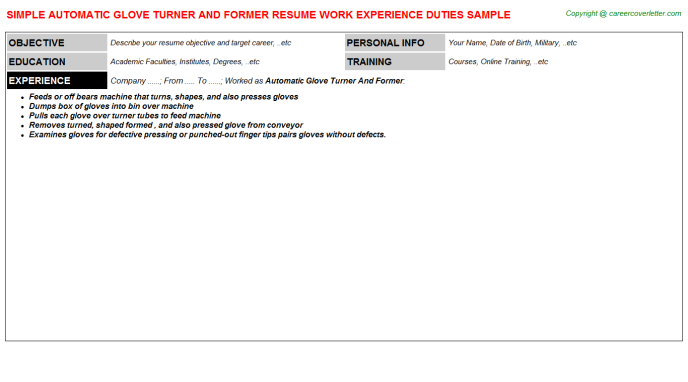 Automatic Glove Turner And Former Job Resume Template