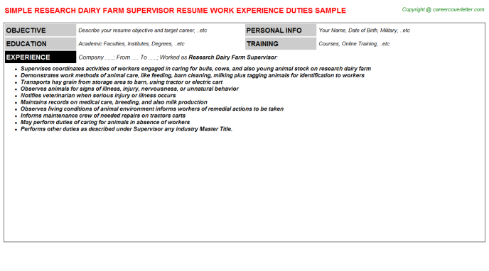 Research Dairy Farm Supervisor Resume Template