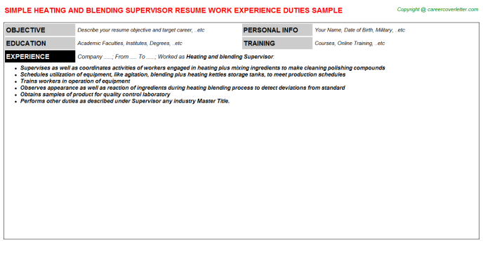 Heating and blending Supervisor Resume Template
