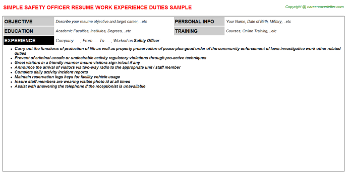 safety officer job resumes