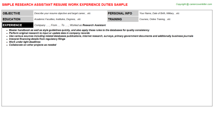Research Assistant Resume Sample Template
