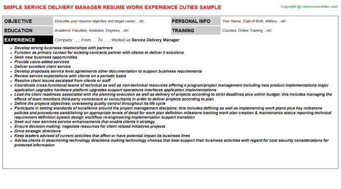 Service Delivery Manager Resume Sample Template