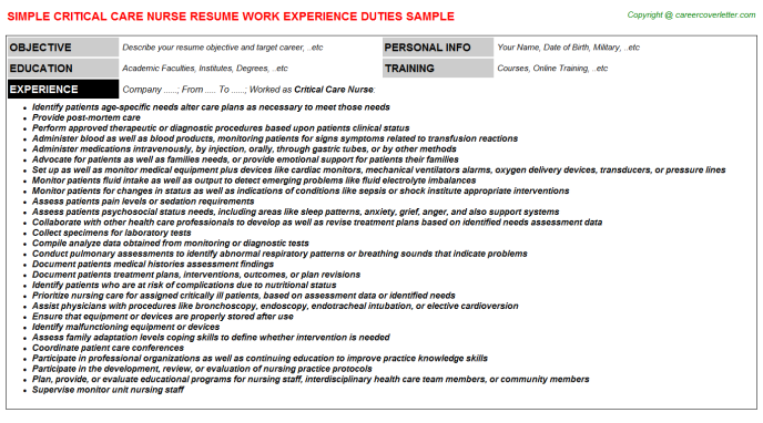 Critical Care Nurse Resume Example Resume Examples