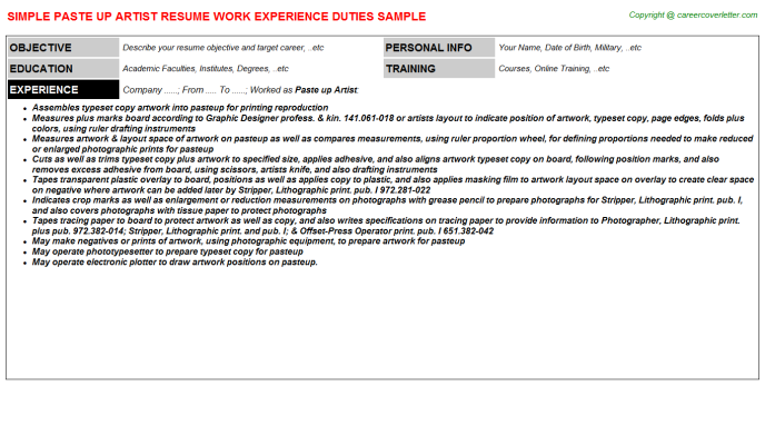 Paste Up Artist Job Resume Template